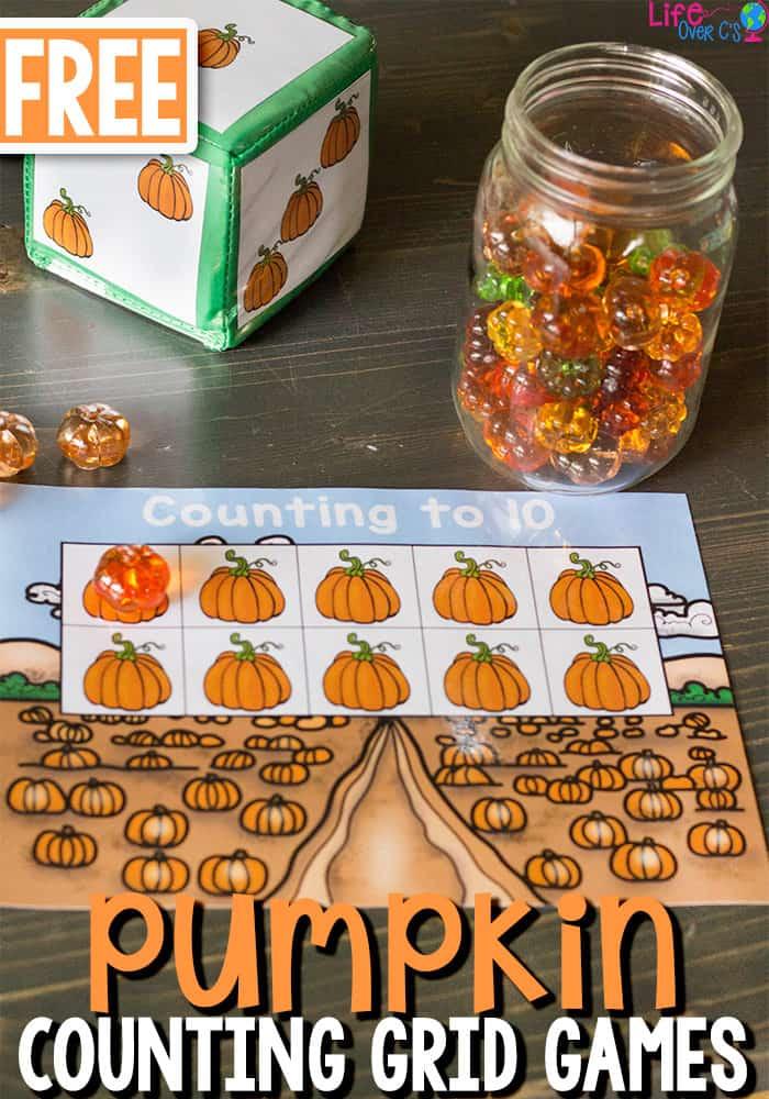 Free Printable Pumpkin Counting Grid Games for Preschool