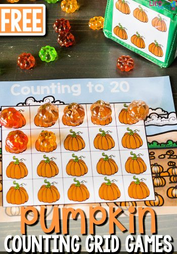 Grab these low-prep free printable pumpkin counting grid games for preschoolers! Such a fun way to practice counting!