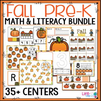 With over 35 activities for preschoolers, this Fall Themed Pre-K math & literacy activity pack is perfect for your preschoolers this fall. Counting, shapes, alphabet, matching, and much more!
