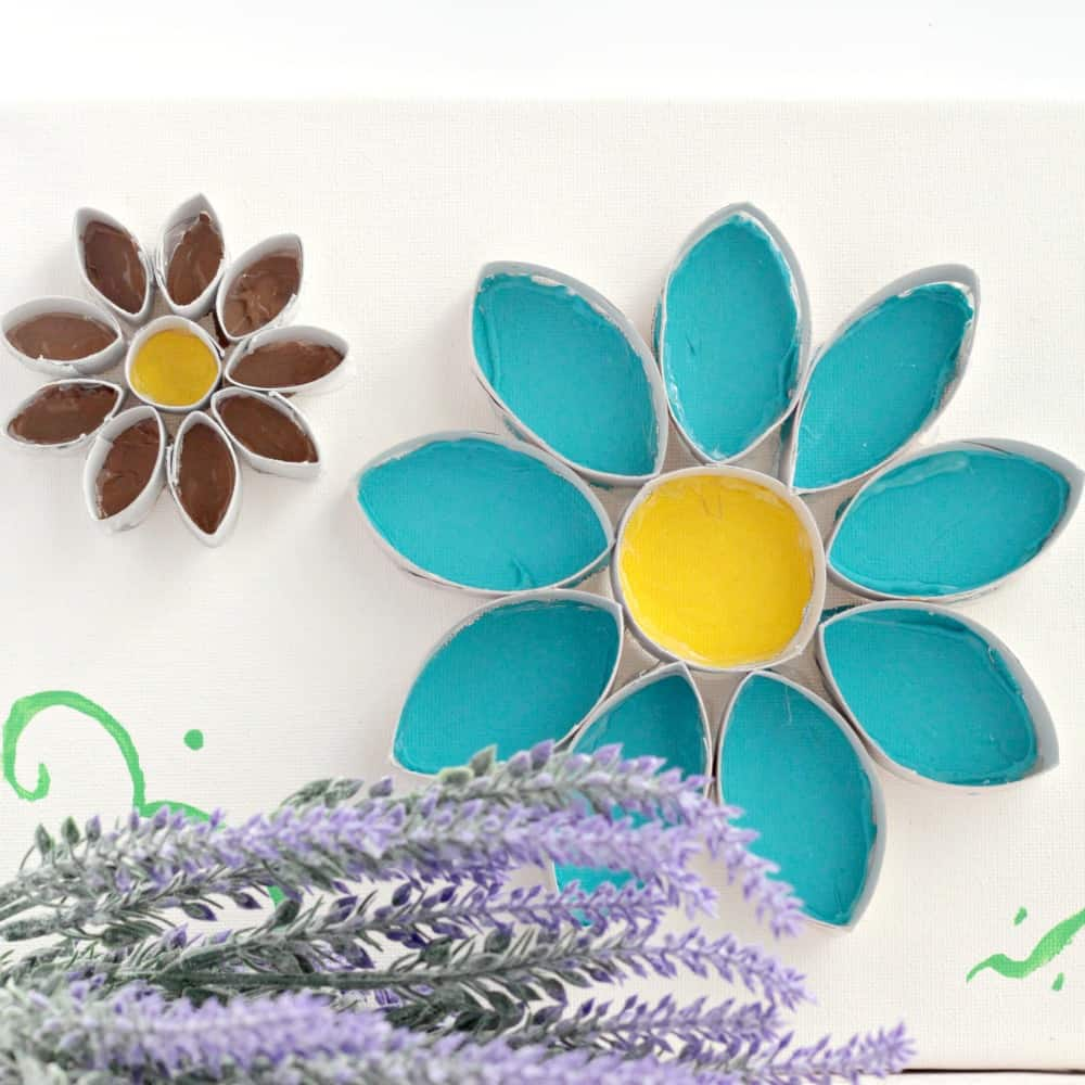 Easy flower cardboard tube wall art life over cs the glue to the toilet paper roll rather than directly on the canvas because its easier to bend the cardboard to fit the petals on the canvas than the jeuxipadfo Images