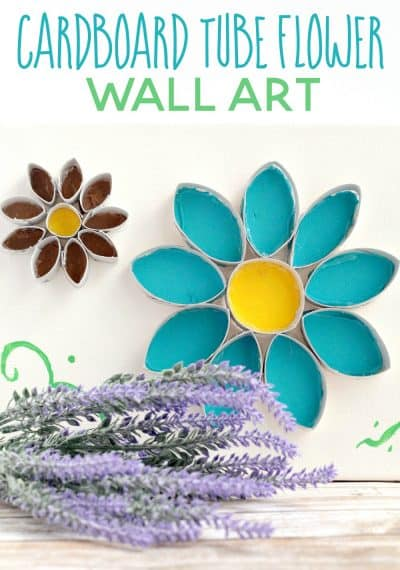 This flower cardboard tube wall art is so simple (and cheap!) to put together. Craft it in just one quick afternoon!