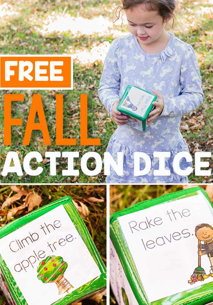This fall gross motor action dice printable is a great way to get kids active this fall! Pretend to pick up a pumpkin, rake the leaves, and other fun fall actions!