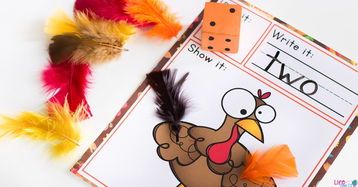 This turkey feathers roll and count math game for fall is a great way to work on number recognition during November! Kids will love putting the feathers on the turkey as they count and write the numbers.
