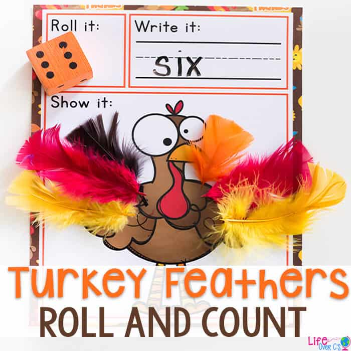 Turkey Roll and Count Math Game for Fall