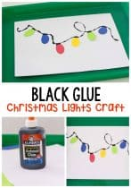 Kids will love creating their own Christmas lights with this simple black glue Christmas lights craft for preschoolers. Work on cutting skills, build patterns, learn colors or just have a fun art project!