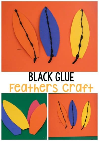 We love using black glue! It makes this black glue feathers craft so much fun while keeping the activity very simple for preschoolers #blackglue #craftsforkids #feathers