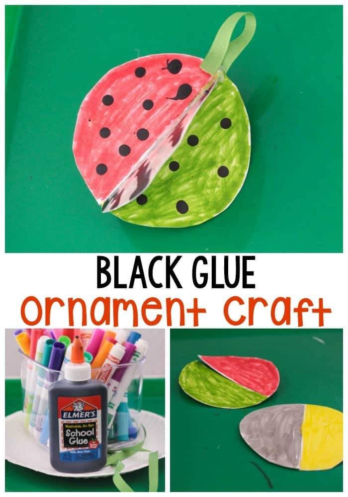 Use a bit of 3D magic to make these black glue Christmas ornaments that you can hang on your Christmas tree!