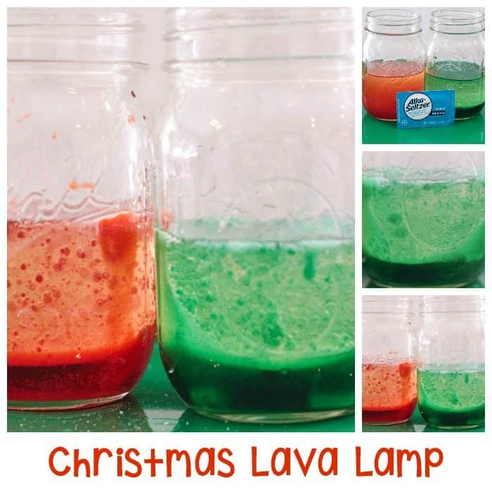 Christmas Lava Lamp science experiment in a mason jar.