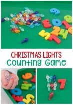 This simple Christmas lights counting game is perfect for preschoolers! Make math fun this Christmas with these adorable mini Christmas lights and this fun dice game.