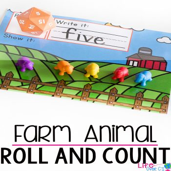 This farm animals roll and count math game for a farm theme is a great way to work on number recognition with kindergarteners! Kids will love putting the animals on the farm as they count and write the numbers.