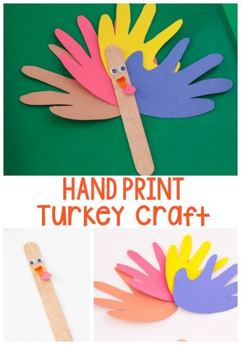 This bright paper turkey craft is a fun and easy craft for Thanksgiving! A nice change from the normal handprint turkey crafts!