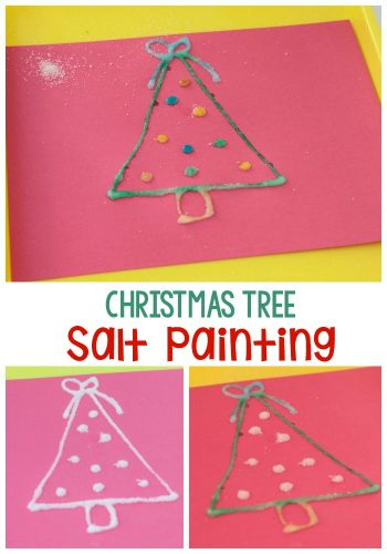 Create a beautiful Christmas craft with your kids. This Christmas tree salt painting is a low-prep Christmas art activity for kids of all ages!