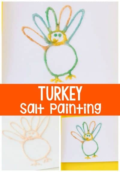 Create a turkey salt painting for Thanksgiving! Your kids will love this simple craft!