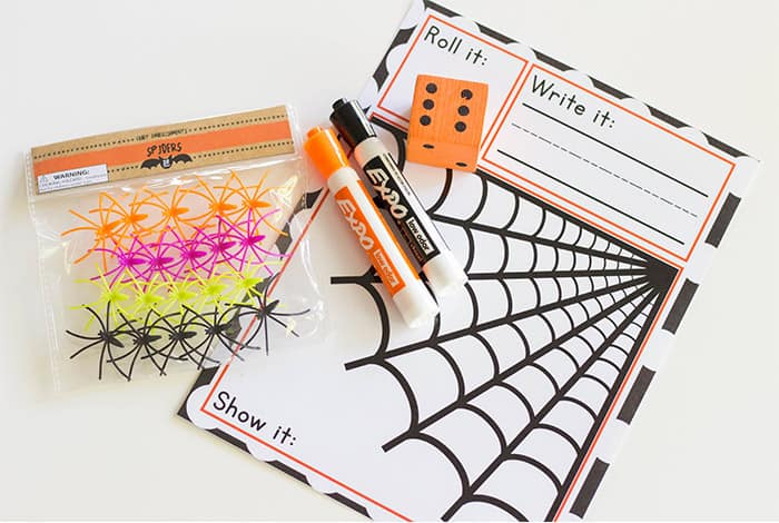 Create a fun spider themed math activity for your kindergarteners with this free printable Spider Roll and Count mat. Pair it up with your favorite dice and spider toys for a great way to practice counting.