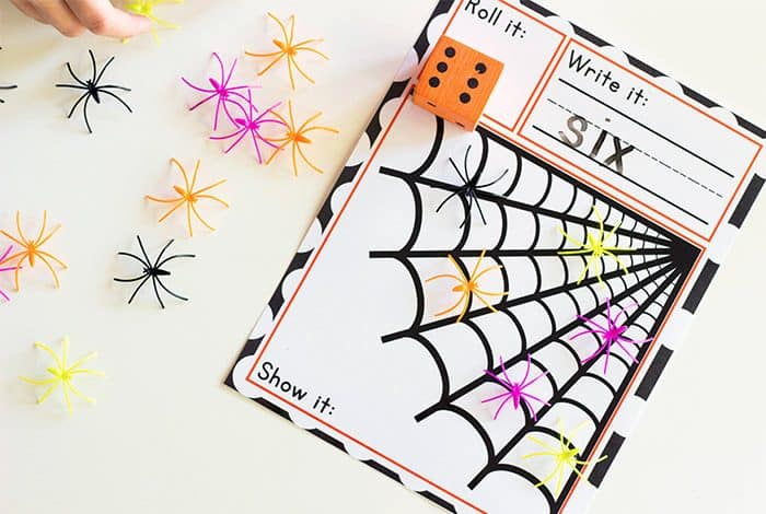 Spider Roll and Count math game for kindergarten.