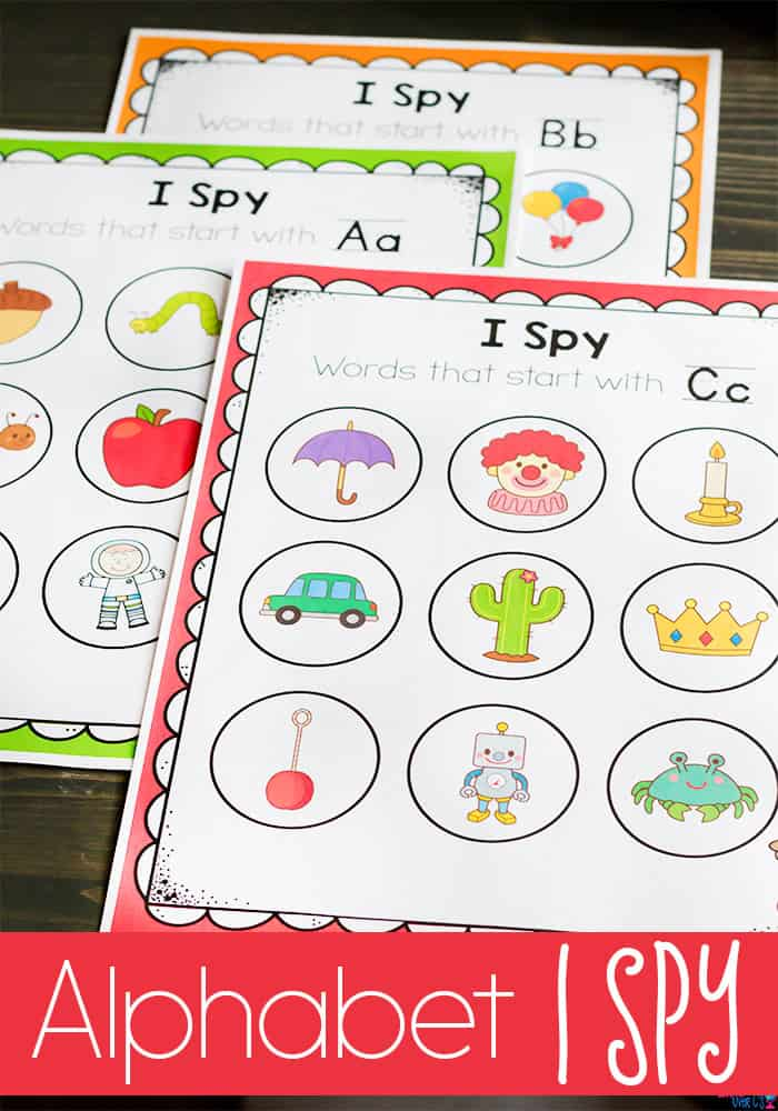 Printable I Spy game for beginning sounds.