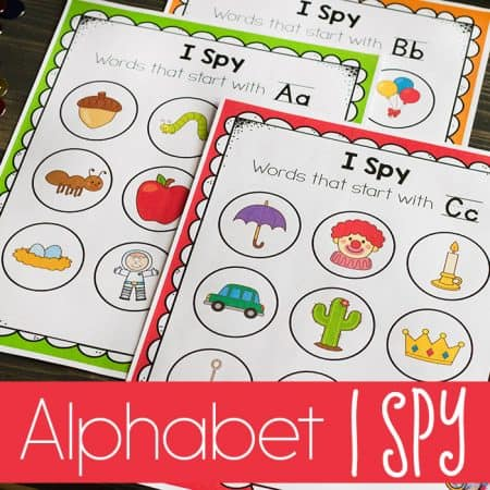Work on beginning sounds with these fun Alphabet I Spy activities for preschoolers!