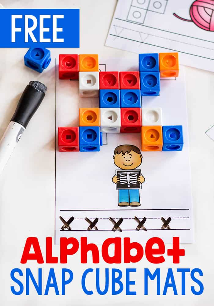 These free printable alphabet snap cube mats are a great alphabet activity for kindergarteners. Work on fine motor skills while learning the alphabet.