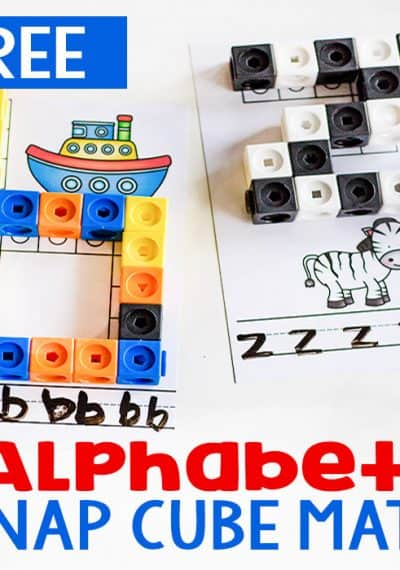Help your kids practice letter recognition, beginning sounds and letter formation with this Printable Alphabet Snap Cube Mat.
