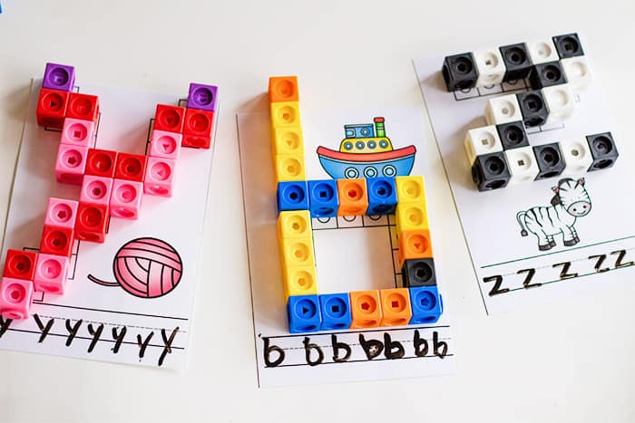 Use snap cubes to build the letters of the alphabet with your kindergartener. This free printable is a fun way to work on fine motor skills while learning the alphabet.