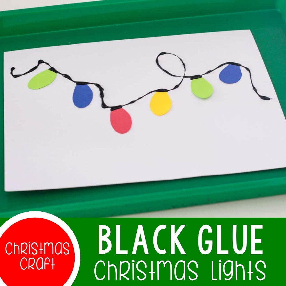 Black Glue Christmas Lights Craft