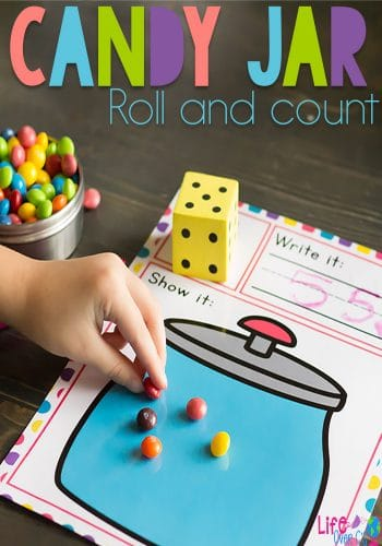 Use up leftover candy with this free printable candy jar roll and count math game for preschoolers. Kids will love counting (and eating!) the candy! Perfect for a math center.
