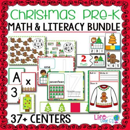 This Christmas Pre-K printable math and literacy bundle has over 37 hands-on centers for pre-k and kindergarten. Kids will love counting, using tracing cards, playing games and more!