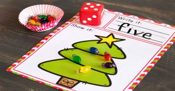 Christmas roll and count activity for preschoolers.
