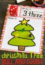 Christmas tree roll and count printable activity.