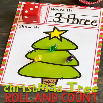 Christmas tree roll and count activity.