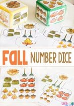These fall number dice are great for lots of fall games! Use them for a number line, gross motor activity, circle time and so much more!