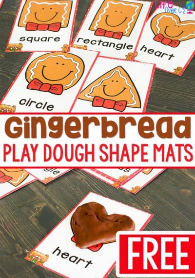 Gingerbread play dough mats for 2D shapes! A great play dough activity for your Christmas theme. Kids love creating the 2D shapes with play dough to match the shapes on the mats.