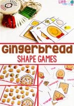 These shape games for kindergarten are a great way to review shapes during your Christmas theme! These adorable gingerbread activities make learning shapes so much fun! #shapeactivities #shapes #kindergarten