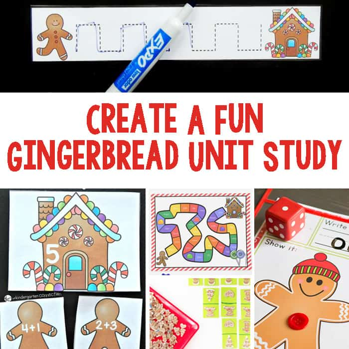 Create A Gingerbread Unit Study - Activities include math, literacy, art & crafts, sensory, and science.