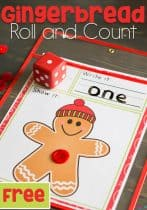 We love gingerbread men! This simple free printable gingerbread man roll and count math game for kindergarteners is perfect for Christmas! Kids love rolling the dice, writing the numbers and counting the buttons.