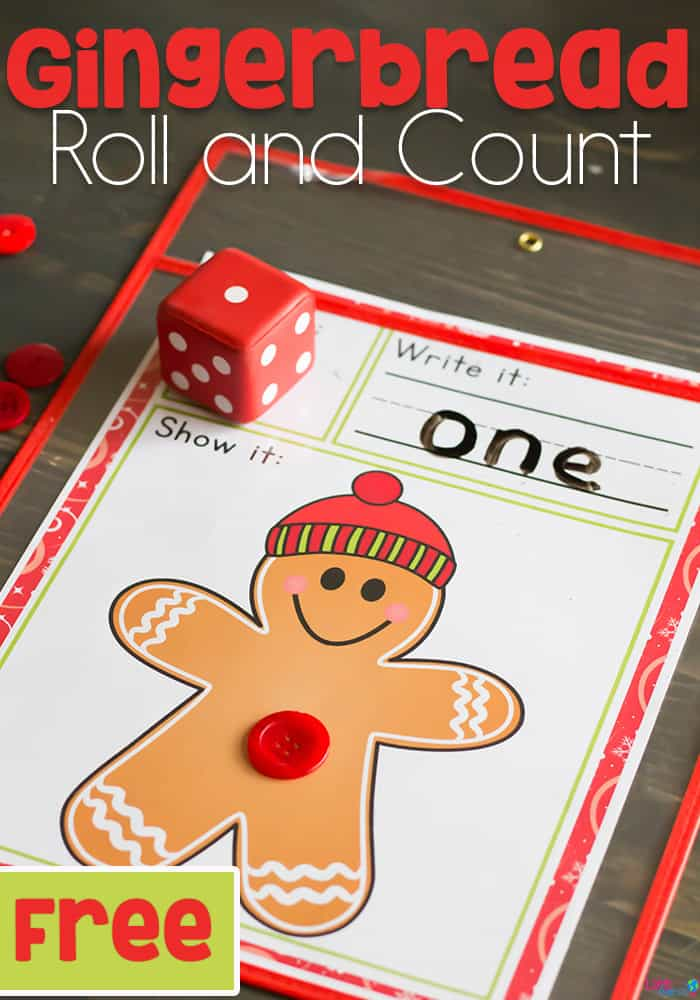 Free Printable Gingerbread Roll and Count Math Game - Life Over Cs