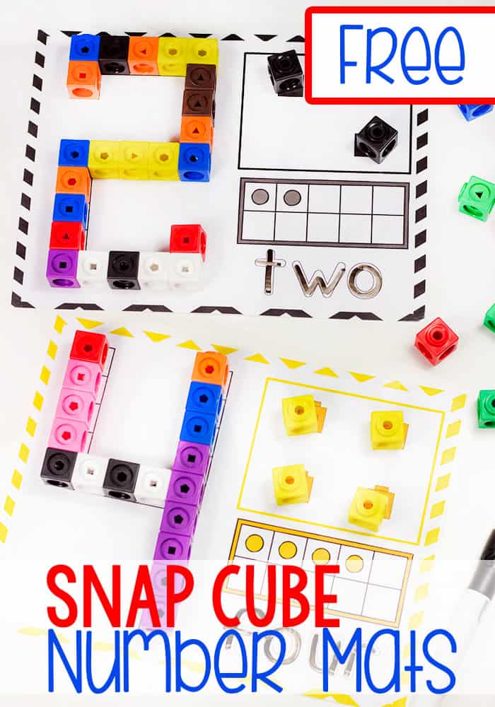 Grab these super cute free printable snap cube number mats for kindergarten! They are a great way to work on number recognition and counting with your kindergarteners! We love our snap cubes! #snapcube #mathprintables