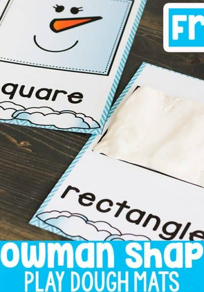 Snowman shape play dough mats are a great addition to your play dough center for winter! Have the kids fill or outline the shapes with play dough for a fun fine-motor winter math activity!