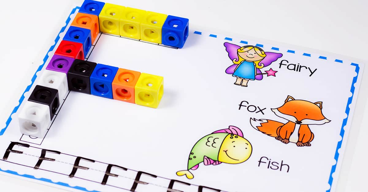These uppercase alphabet snap cube mats are the perfect free printable letter activity for kindergarten. Practice writing letters, work on beginning sounds and form each letter with the snap cubes! #alphabetactivity #kindergartenprintable