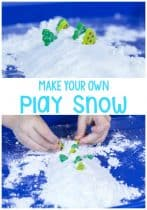 This make your own play snow recipe is a fun way to bring the feel of winter indoors without feeling any of the cold at all. A great play dough for winter.