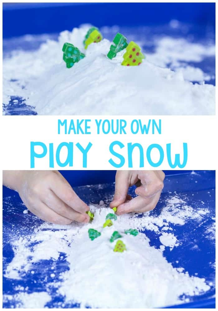 This make your own play snow recipe is a fun way to bring the feel of winter indoors without feeling any of the cold at all. A great play dough for winter,