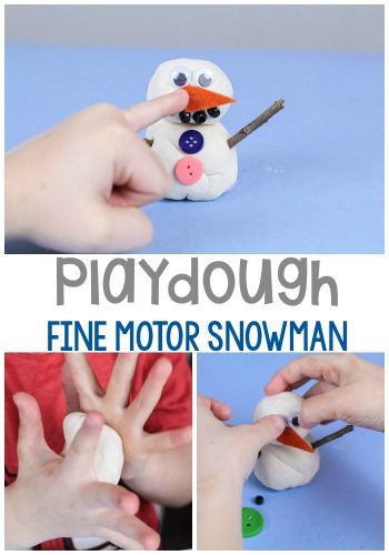 Build a snowman with this fun fine motor snowman play dough activity for preschoolers.