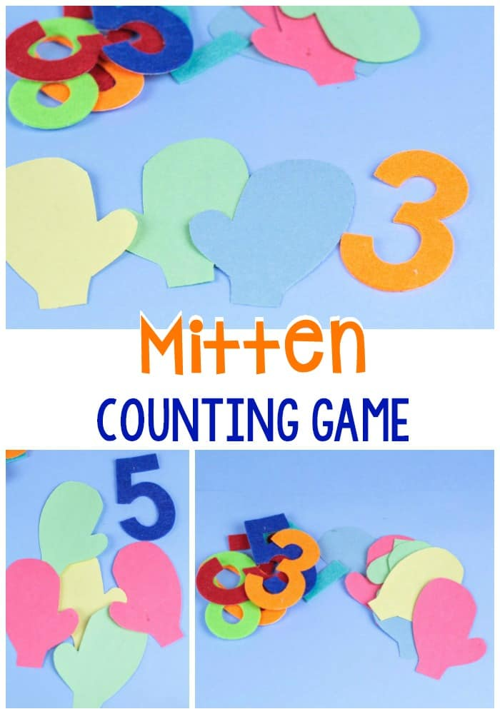 In this number counting activity, mittens are a fun way to practice counting and basic math skills during the long months of winter