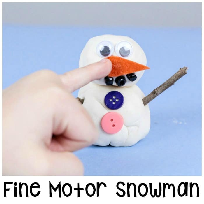 Preschool Playdough Fine Motor Snowman