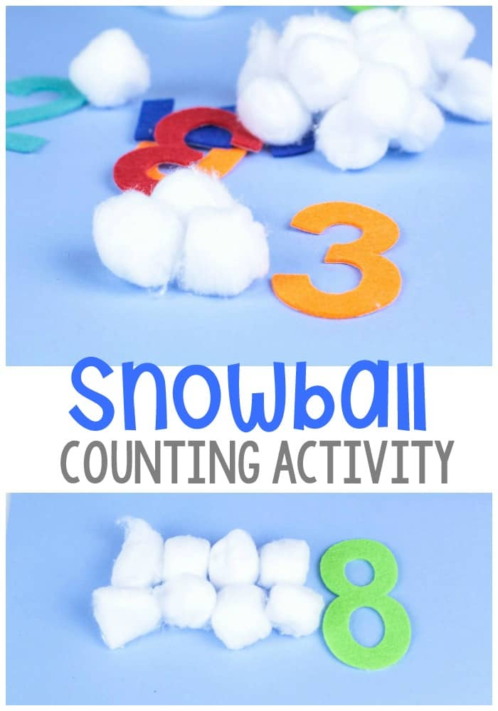 This low-prep hands-on snowball counting activity for preschool is a fun way to play with 'snow' inside! Kids will love practicing their numbers while collecting snowballs!