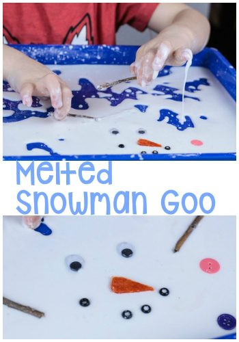 Kids love exploring with goo (goop or oobleck, whatever name you want to use!). This melted snowman sensory activity is no different. Kids will love playing with their melted snowman while having a sensory exploration of states of matter.