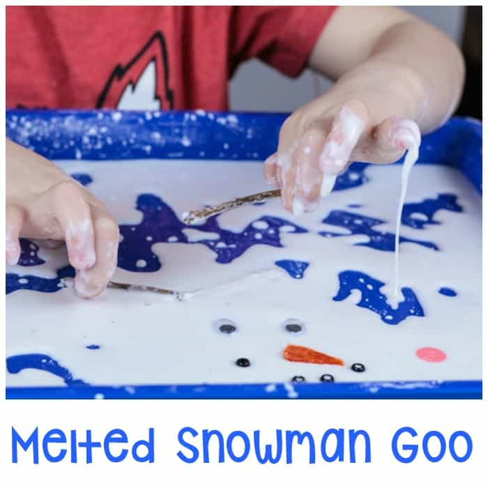 Melted Snowman Goo Sensory Play