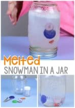 This melted snowman sensory jar is a fun activity for preschoolers. Make a snowman no matter what the weather is outside!