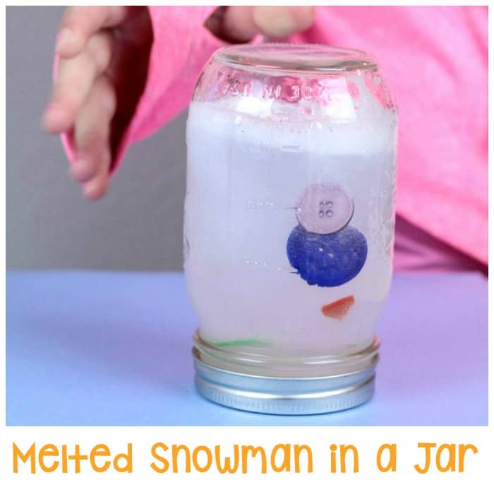 This melted snowman in a jar is a fun winter craft idea for kids.
