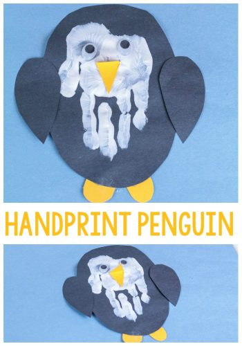 """Kids will say """"AWW"""" when they see this adorable hand print penguin craft! Transform a hand print into an adorable penguin for a fun winter craft."""